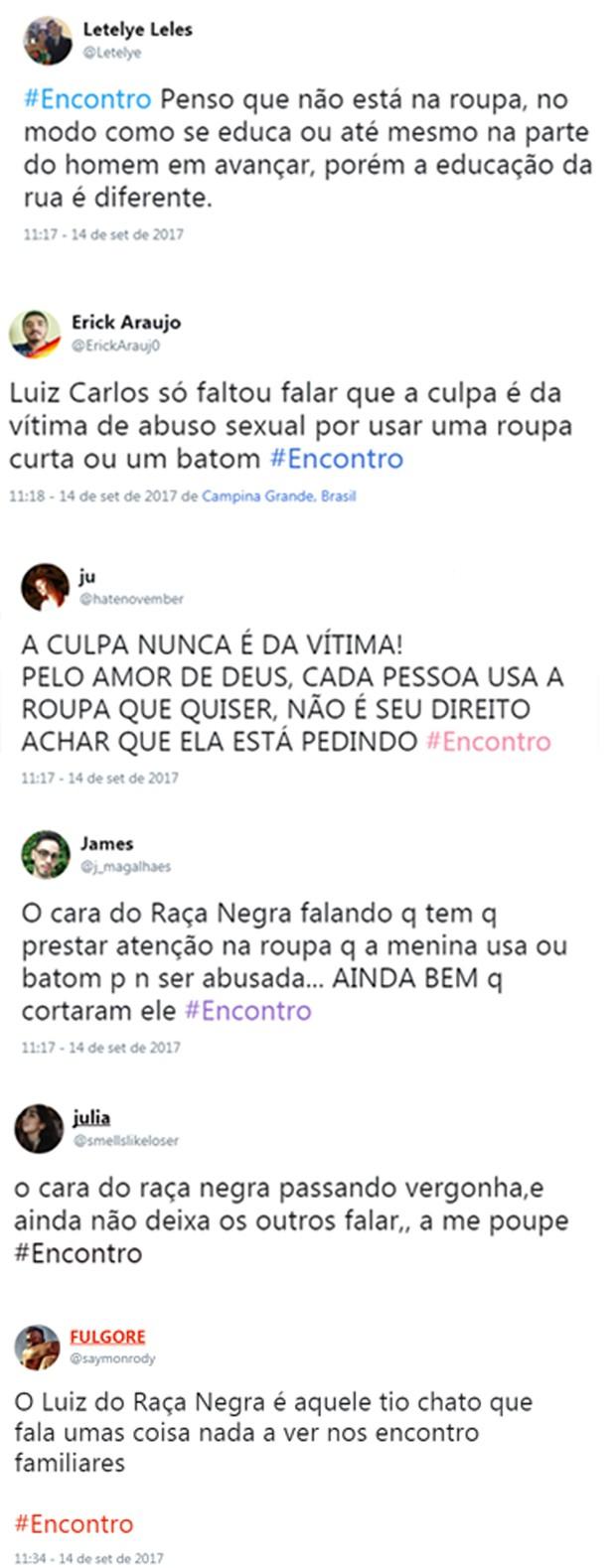 Internautas criticam Luiz, do Raça Negra (Foto: Reprodução/Twitter)