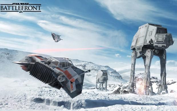 Combates entre Snowspeeders e AT-ATs no planeta gelado de Hoth também estarão em 'Star Wars Battlefront' (Foto: Divulgação/Dice)