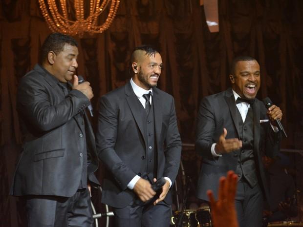 Luiz Carlos, Belo e Alexandre Pires em show no Recife (Foto: Felipe Souto Maior/ Ag. News)
