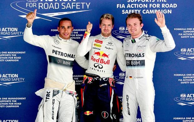 Vettel, Hamilton e Rosberg pole GP da India (Foto: Reuters)