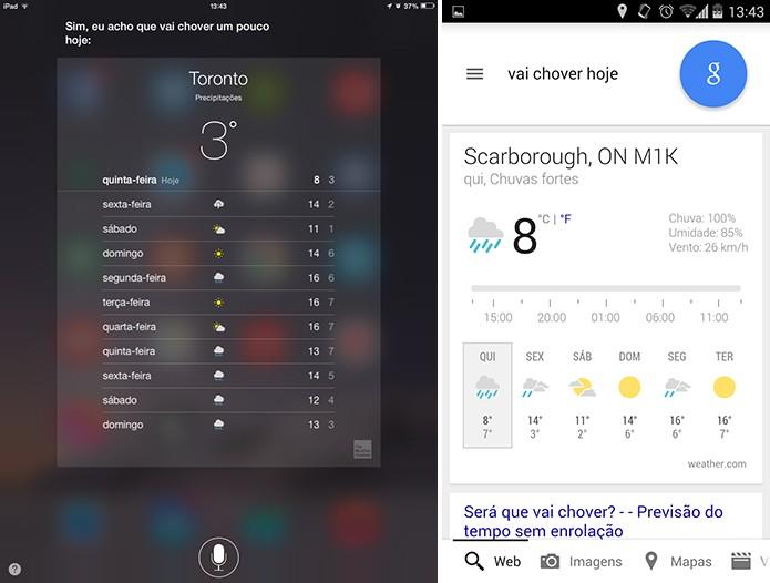 Siri e Google Now são capazes de responder previsão do tempo com fala em português (Foto: Reprodução/Elson de Souza)