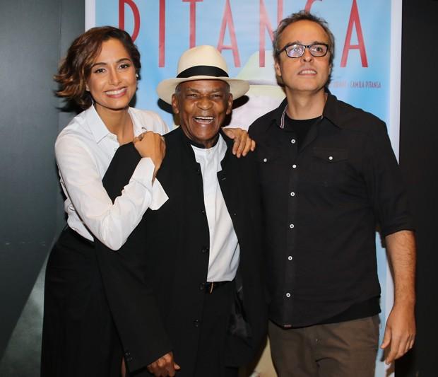 Camila Pitanga, Antônio Pitanga e o diretor Beto Brant (Foto: Thiago Duran/AgNews)