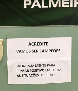 recado vestiário Palmeiras (Foto: Reprodução)