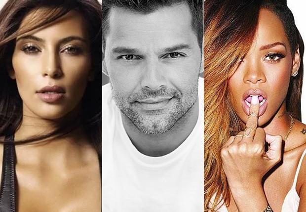 Kim Kardashian, Ricky Martin e Rihanna (Foto: Reprodução)