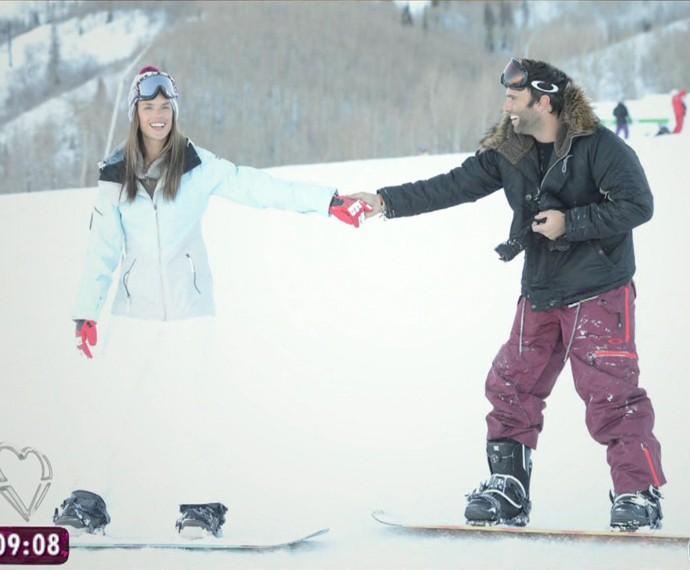 Alessandra Ambrósio com o noivo Jamie Mazur (Foto: TV Globo)