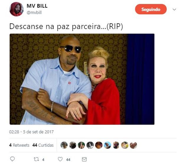 MV Bill lamenta morte de Rogéria (Foto: Reprodução/Twitter)