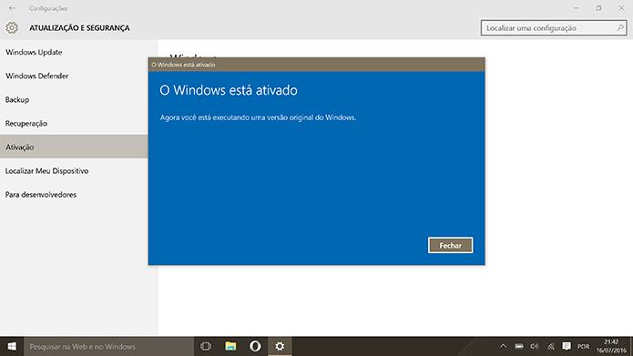 Windows 10 Pro estará ativado sem a necessidade de instalação limpa (Foto: Reprodução/Elson de Souza)