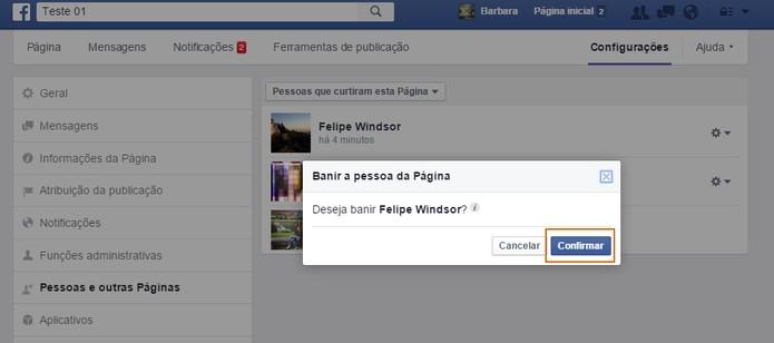 Confirme o banimento do usuário na sua página do Facebook (Foto: Reprodução/Barbara Mannara)