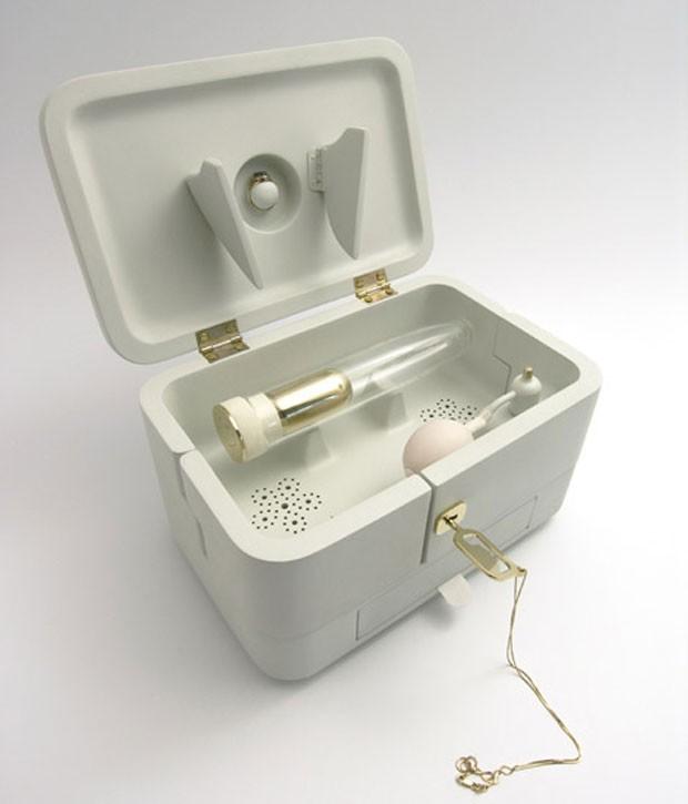 Vibrador vem em uma caixade madeira polida à mão (Foto: Reprodução/Designboom)