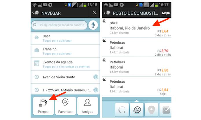 Encontrando postos de gasolina próximos a localização atual do usuário do Waze pelo Android  (Foto: Reprodução/Marvin Costa)