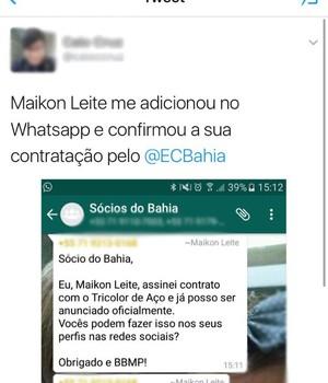 Twitter; Bahia; Maikon Leite (Foto: Reprodução)