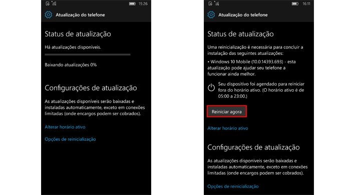 Telefone precisa ser reiniciado para aplicar atualizações (Foto: Reprodução/Windows)