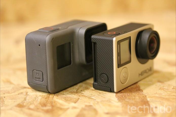 Gopro Hero5 Black é mais pesada e maior que a GoPro Hero 4 Silver (Foto: Luana Marfim/TechTudo)