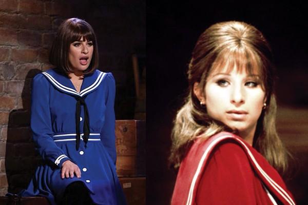 Lea Michele em sua versão de Funny Girl para cena da série 'Glee', e Barbra Streisand como Fanny Brice no filme 'Funny Girl - A Garota Genial' (1968) (Foto: Divulgação)