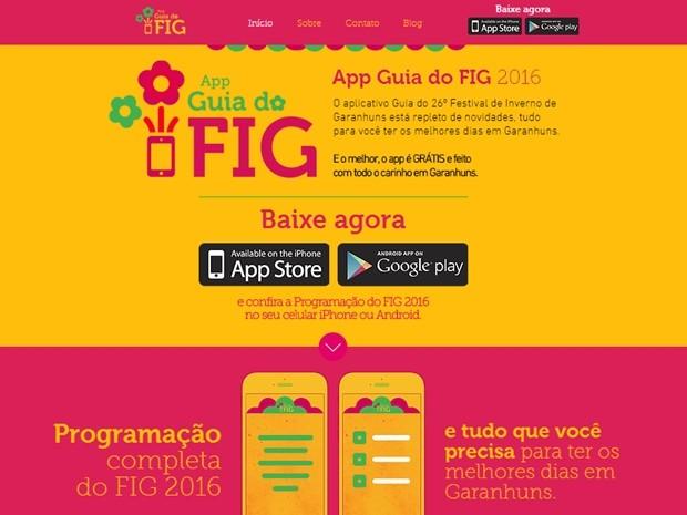 Aplicativo 'Guia do FIG 2016' está disponível para download (Foto: Reprodução/Guia do FIG)