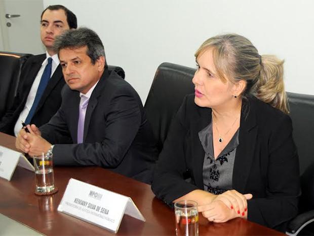 Durante coletiva, promotora afirmou que cerca de 20 mil cheques foram analisados durante as investigações (Foto: Divulgação/MPRN)