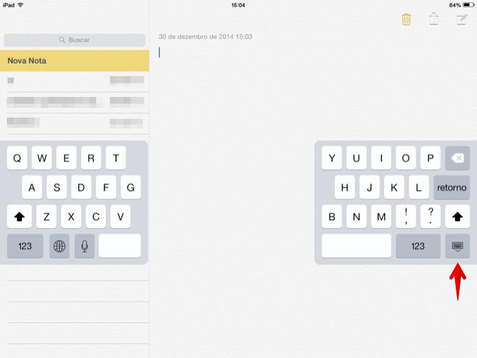 Toque sobre o botão e arraste para alterar a posição do teclado (Foto: Reprodução/Helito Bijora)