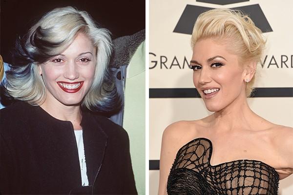 A cantora Gwen Stefani aos 29 anos em 1999 e, atualmente, aos 45 (Foto: Getty Images)