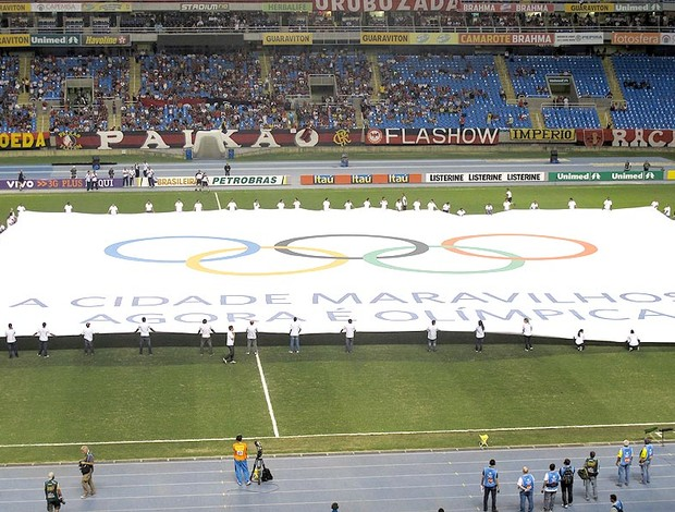 Bandeira olímpica estádio engenhão  (Foto: Janir Júnior / Globoesporte.com)