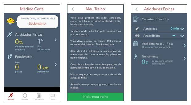 Tutorial aplicativo Medida Certa treino (Foto: Rede Globo)