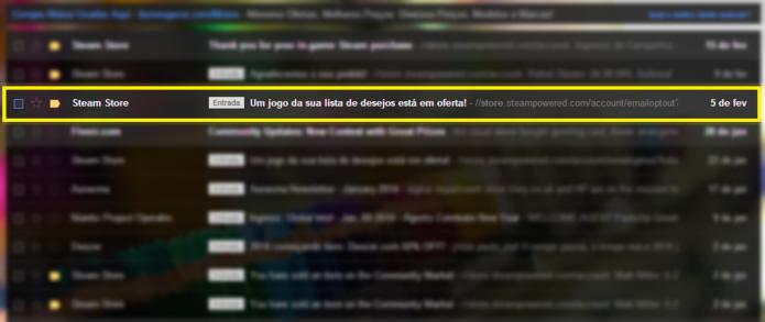 E-mail da Steam informando sobre o jogo em promoção (Foto: Reprodução/Paulo Vasconcellos)