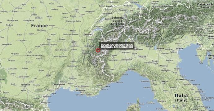 Mapa Acidente Schumacher (Foto: Editoria de Arte)