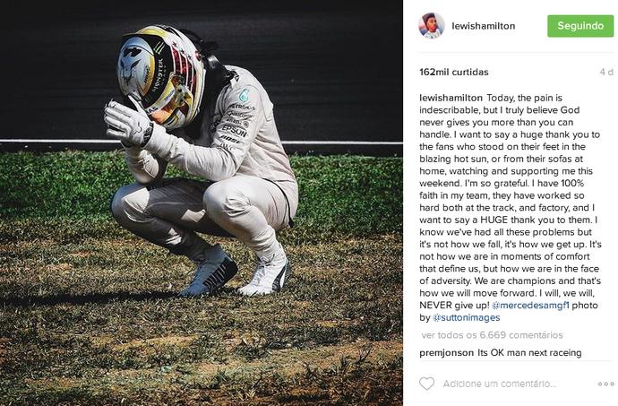 Lewis Hamilton posta no Instagram após quebra no GP da Malásia (Foto: Reprodução)