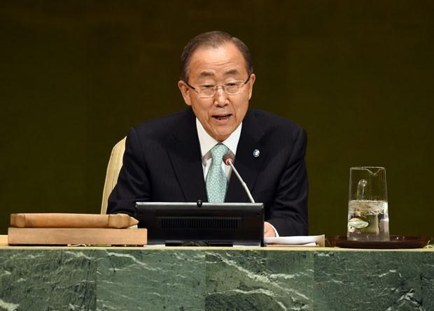 O secretário-geral da ONU, Ban Ki-moon, abriu a Cúpula do Clima das Nações Unidas nesta terça-feira (23), em Nova York (Foto: Timothy A. Clary/AFP)