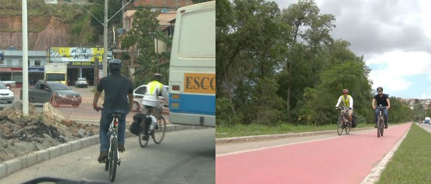 Contrastes na Grande Vitória: locais sem e com ciclovias (Foto: Reprodução/TV Gazeta)