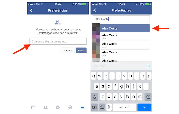 Buscando por um usuário que será filtrado na função Neste Dia do Facebook para iPhone (Foto: Reprodução/Marvin Costa)
