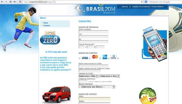 Nas páginas falsas, internautas são convidados a preencherem um formulário com dados do cartão de crédito. (Foto: Divulgação/Kaspersky)