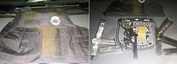 Colete com brasão da PM da Paraíba e armas foram apreendidos (Foto: PM/Divulgação)