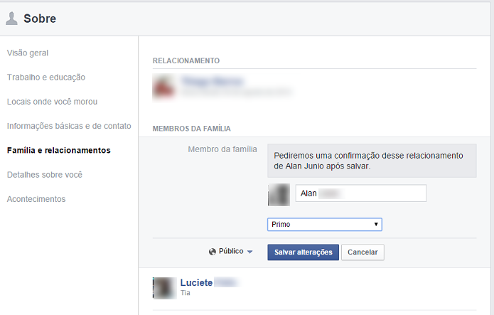 Adicionando o status de parentesco de um amigo do Facebook (Foto: Aline Jesus/Reprodução)