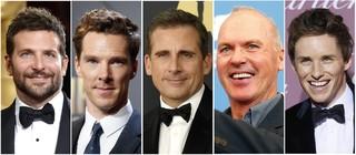 Bradley Cooper, Benedict Cumberbatch, Steve Carell, Michael Keaton e Eddie Redmayne (Foto: Agência Reuters)