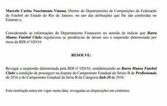 Barra Mansa acerta pendências e está oficialmente de volta à Série B