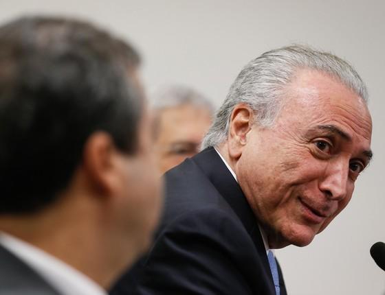 O presidente Michel Temer em reunião com a bancada do PTB (Foto: Alan Santos/PR)