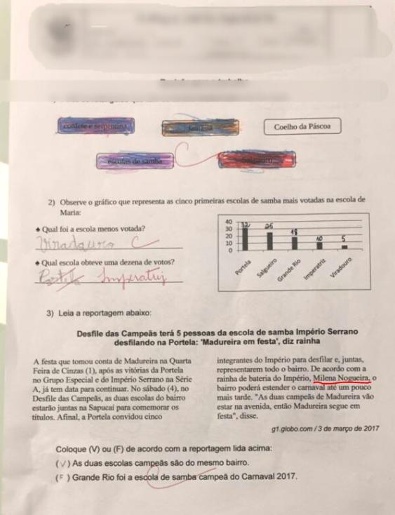 Prova com o nome de Milena Nogueira (Foto: Reprodução/reprodução)