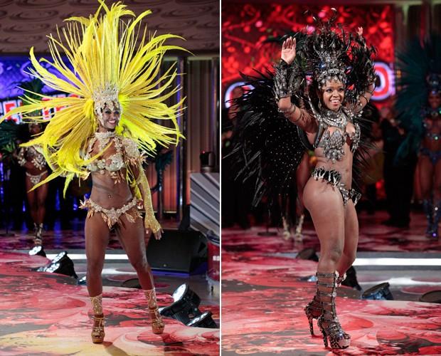 Queila Mara e Claudia foram as primeiras finalistas (Caldeirão do Huck / TV Globo)