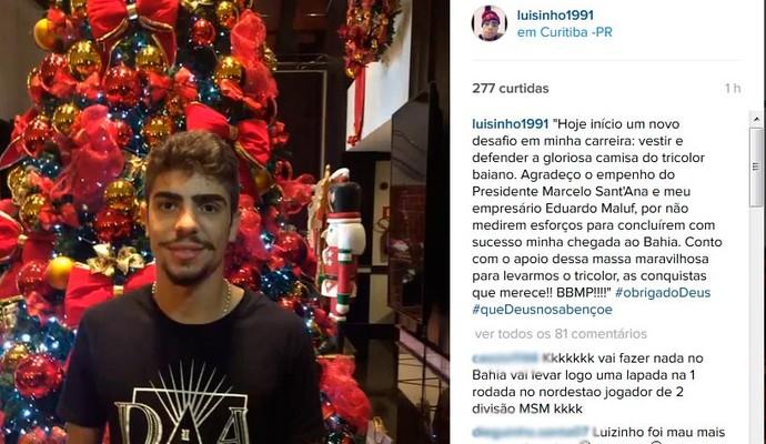 Luisinho; Bahia; Instagram (Foto: Reprodução)