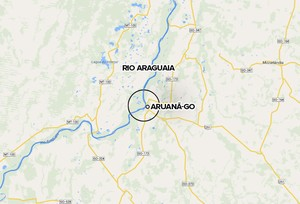 Mapa Aruanã - rio Araguaia falecimento Fernandão (Foto: Editoria de arte)
