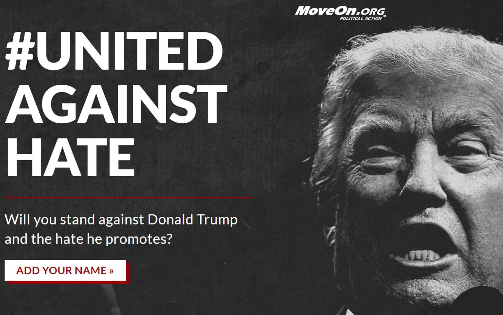Site da campanha #UnitedAgainstHate, contra a eleição de Donald Trump (Foto: Reprodução/unitedagainsthate.com)