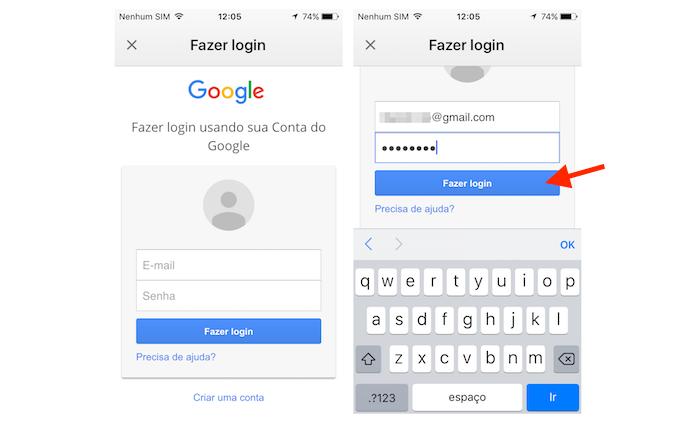 Realizando login no aplicativo do Gmail para iPhone (Foto: Reprodução/Marvin Costa)