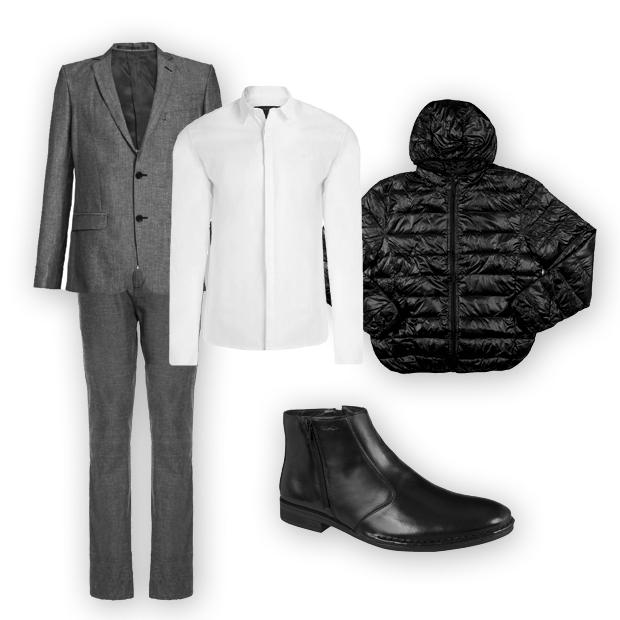 Blazer Crawford (R$ 799,90), calça Siberian (sob consulta), camisa Calvin Klein Jeans (R$ 138,90 na Shop2gether), jaqueta doudoune Colombo (R$ 99,95), bota Ferracini 24h (R$ 304,90) (Foto: Divulgação)