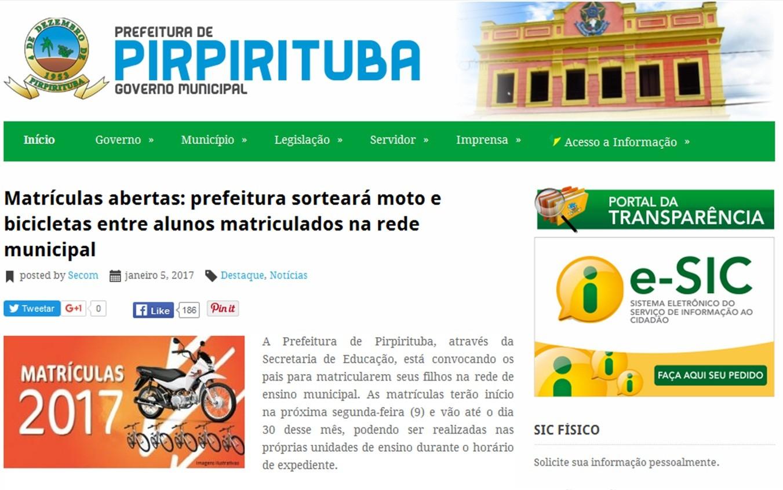 Prefeitura de Pirpirituba, no Agreste paraibano, vai sortear um moto entre os estudantes matriculados na rede municipal de ensino (Foto: Reprodução/pirpirituba.pb.gov.br)