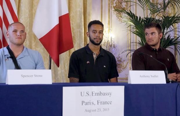 Da esquerda para direita, Spencer, Sadler e Skarlatos (Foto: REUTERS/Regis Duvignau)