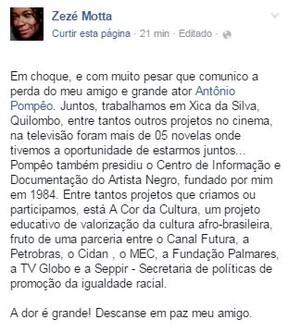 Zezé Motta sobre falecimento de  Antônio Pompêo (Foto: Reprodução / Facebook)