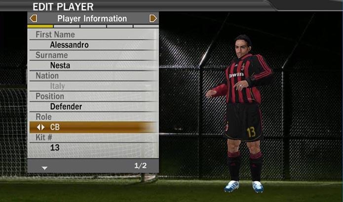 Lenda do Milan ainda atuava em Fifa 07 (Foto: Reprodução/Murilo Molina)