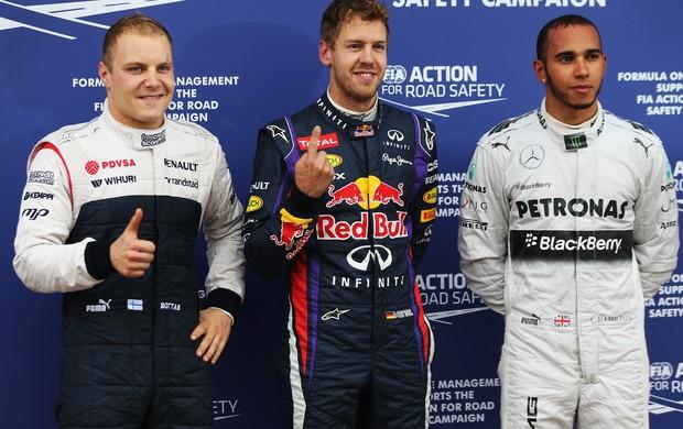 Valtteri Bottas, Sebastian Vettel e Lewis Hamilton. Os três primeiro no grid de largada do GP do Canadá (Foto: Getty Images)