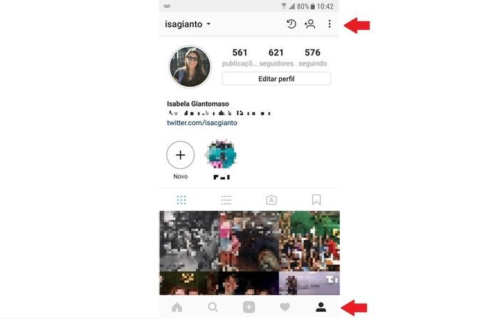 Na página do seu perfil, clique no ícone de Opções, indicado por três pontos no canto da tela (Foto: Reprodução/Isabela Giantomaso)