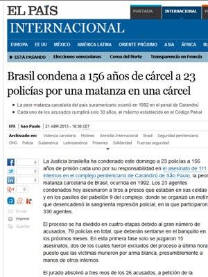 """Jornal El País classificou o caso Carandiru como """"a pior matança carcerária do Brasil"""" (Foto: Reprodução)"""